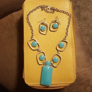 Blue and silver necklace and earrings set